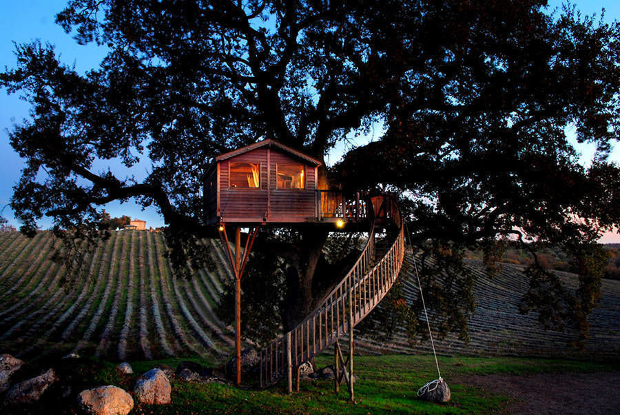 The wooden house named La Piantata in the Tuscan countryside