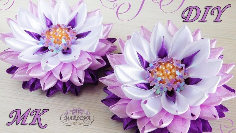 🌺 Цветы из узких лент с красивой серединкой Канзаши МК DIY 👐
