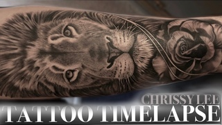 TATTOO TIME LAPSE | LION AND ROSE | CHRISSY LEE