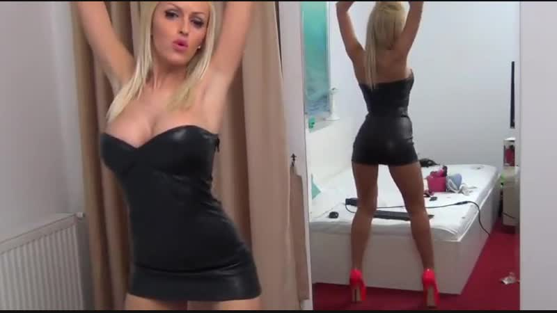 BIGTITS BLONDE LEATHER DRESS DANCING