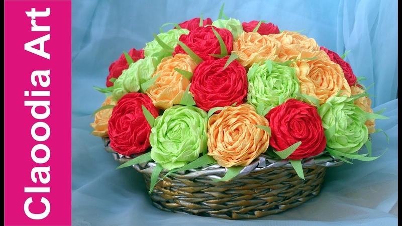 Kosz z kwiatami z krepiny Wicker paper roses crepe paper