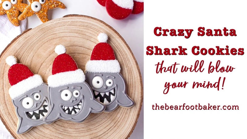 Crazy Santa Shark Cookies that will Blow Your MIND | The Bearfoot Baker