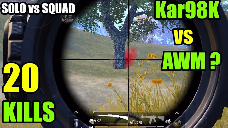 Kar98K vs AWM !   20 KILLS SOLO vs SQUAD   PUBG Mobile