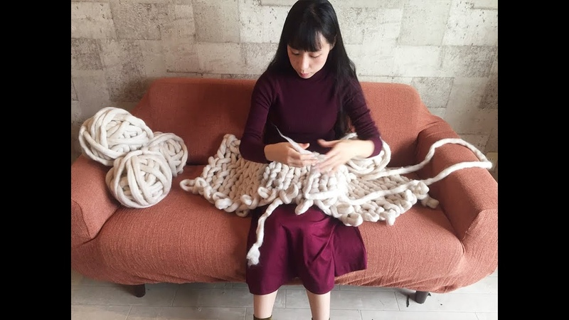 初心者でも簡単!アームニッティング 腕編み でつくる超極太毛糸のブ 1252