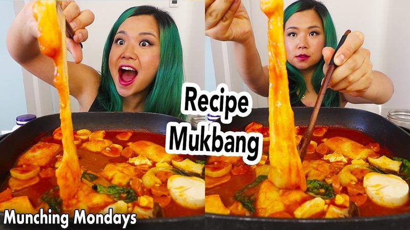 STRETCHY AF RICE CAKES Kirimochi Tteokbokki Mukbang Vegan Munching Mondays Ep 42