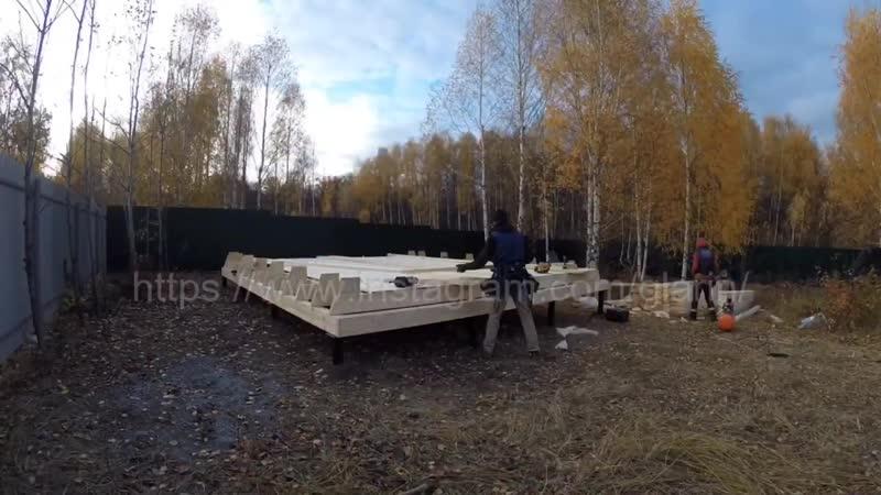 Дом Шалаш день 2 Лаги пола Building Aframe house Day 2 Floor logs