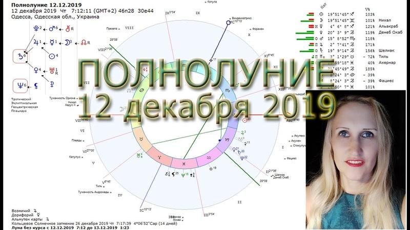 Полнолуние 12 декабря 2019 на оси Стрелец-Близнецы Астрология