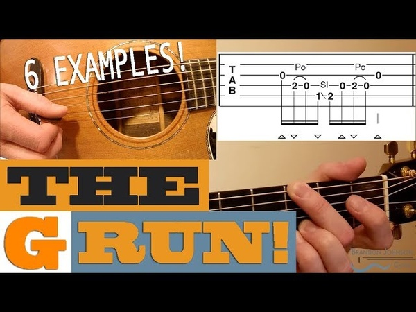The G Run - 6 Examples   BLUEGRASS Guitar Lesson with TAB