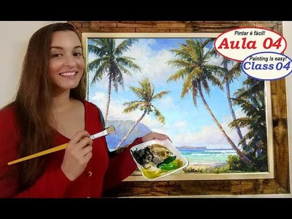 Aprenda a Pintar uma praia com coqueiros Pintar é fácil