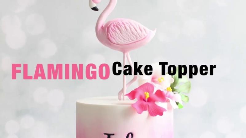 Flamant Rose en pâte à sucre Flamingo Cake Topper