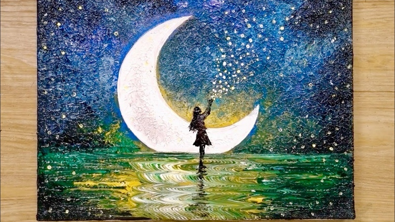 How to draw a moonlight girl with 1 million stars / Acrylic painting technique