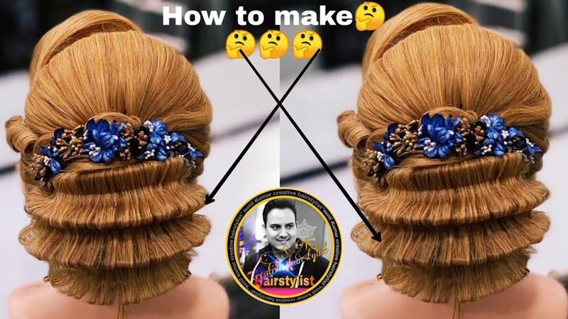 Latest zig zag pattern updo hairstyle 2019/ latest wedding bun hairstyle / new judha hairstyle 2019