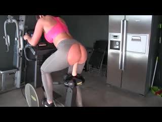 Exercise bike dildo fuck