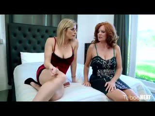 Blonde with glasses is having a threesome with her kinky friends while her husband is working