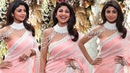 Shilpa Shetty In Peach Color Saree At Armaan Jain-Anissa Malhotra Wedding Party