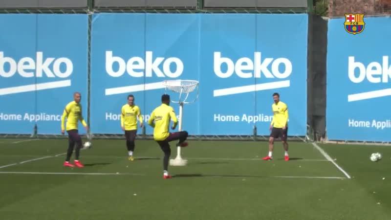 Lenglet, Griezmann, Semedo and Braithwaite in training