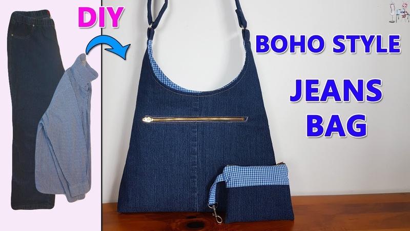 DIY BOHO STYLE JEANS BAG   DIY BAG   BOHO BAG   RECYCLE OLD JEANS IDEAS   BAG SEWING TUTORIAL