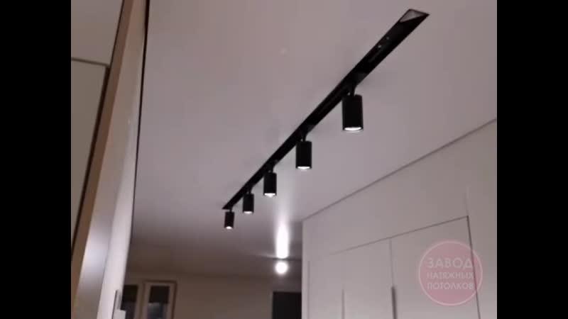 Натяжные потолки в Вологде Видеоотчет трековые светильники