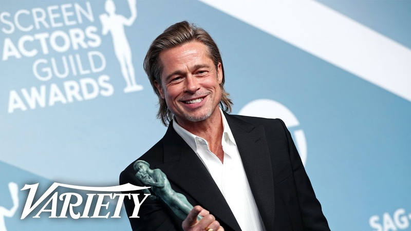 Brad Pitt Wins SAG Award for 'Once Upon a Time in Hollywood' Full Backstage Interview