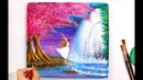 A Girl near a Waterfall Painting Step by Step tutorial for beginners using Acrylic Colours