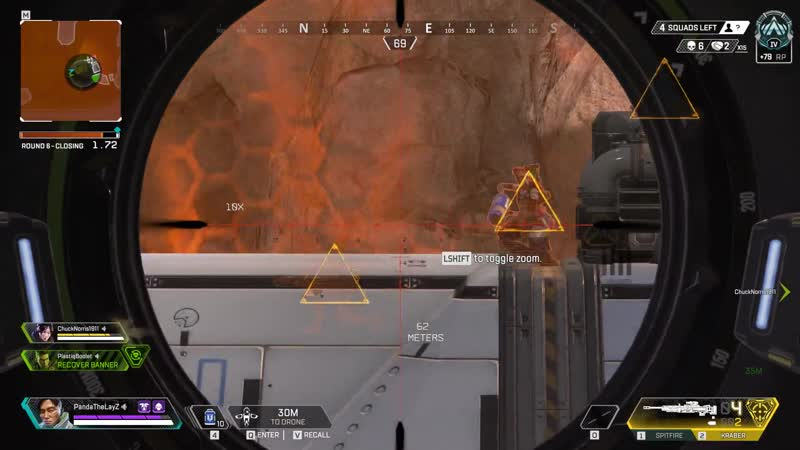Good drone placement and a lucky Kraber shot turned a potential 3v1 into a 1v1