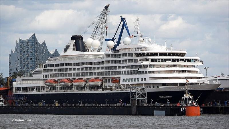 PRINSENDAM very last sailing as PRINSENDAM and docking at Blohm Voss yard 4K Quality Video