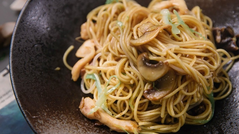 Chicken Chow Mein with mushrooms