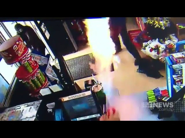 Show clerk thwarts robbers using Flame Thrower