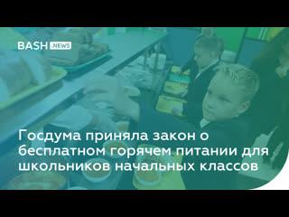 Госдума приняла закон о бесплатном горячем питании для школьников начальных классов