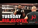 Glimpse at the Big Boys, Big Gloves Tuesday training session.