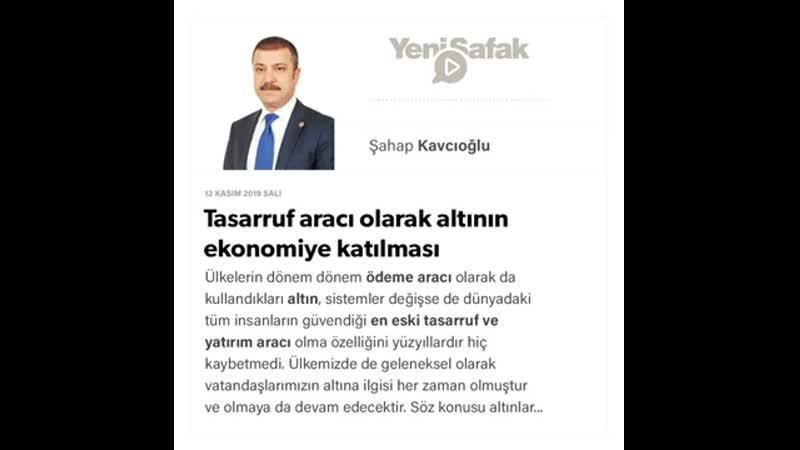 083 Şahap Kavcıoğlu Tasarruf aracı olarak altının ekonomiye katılması