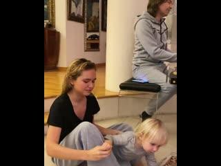 Дмитрий Маликов с сыном и дочкой