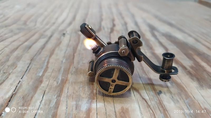 стимпанк зажигалка с накладкой steampunk lighter with trim