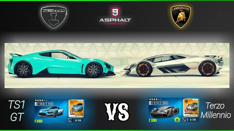 Asphalt 9 : 4* Zenvo TS1 GT (Rank 3958) vs 4* Lambo Terzo Millennio (Rank 3974) STATS COMPARISON !
