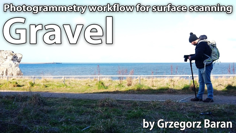 Photogrammetry workflow for surface scanning with the monopod Gravel PBR Material