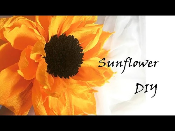 Paper sunflower wreath DIY How to make crepe paper flowers Wall hanging handmade