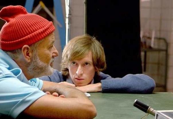 Уэс Андерсон и Билл Мюррей на съемках «Водной жизни», 2003 год