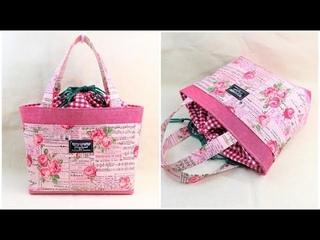 巾着トートバッグの作り方 裏地付き マチ付き How to make a  tote bag / diy kawaii bag  可愛い巾