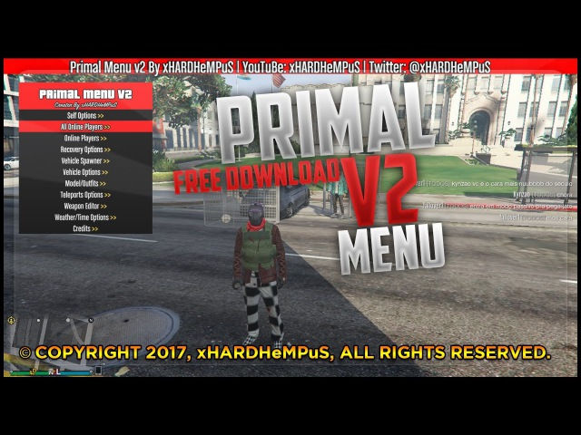 GTA V PC 1.37 ONLINE PRIMAL MENU v2 FULL (FREE DOWNLOAD)