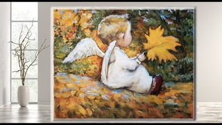 Little Angel and Autumn /Acrylic Painting / Step by Step for Beginners/ Tutorial / MariArtHome