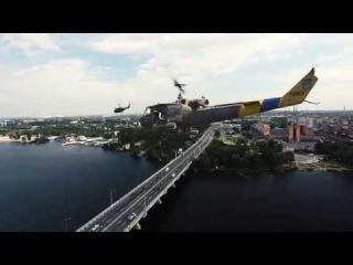 Украинские боевые вертолеты над Днепропетровском
