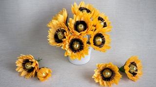 Как сделать подсолнухи из конфет // Цветы из гофрированной бумаги // DIY Свитдизайн