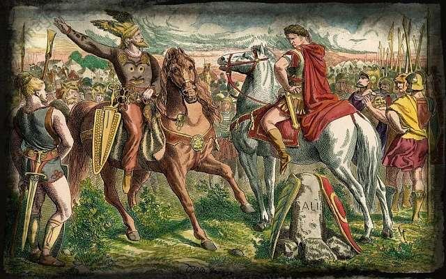 Очень наглядная стилизация. Цезарь и Ариовист устраивают «версус» по переписке. В центре — Галлия, трофей, который достанется победителю.