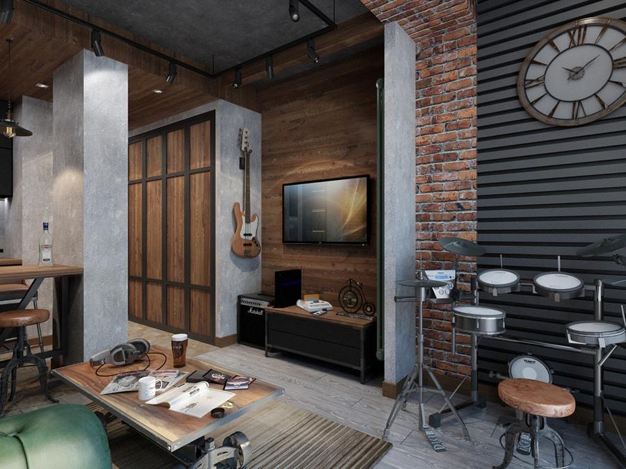 Проект квартиры 26 м в стиле лофт.