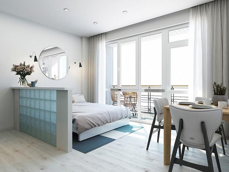 Проект апартаментов 27 м для летнего проживания на курорте.