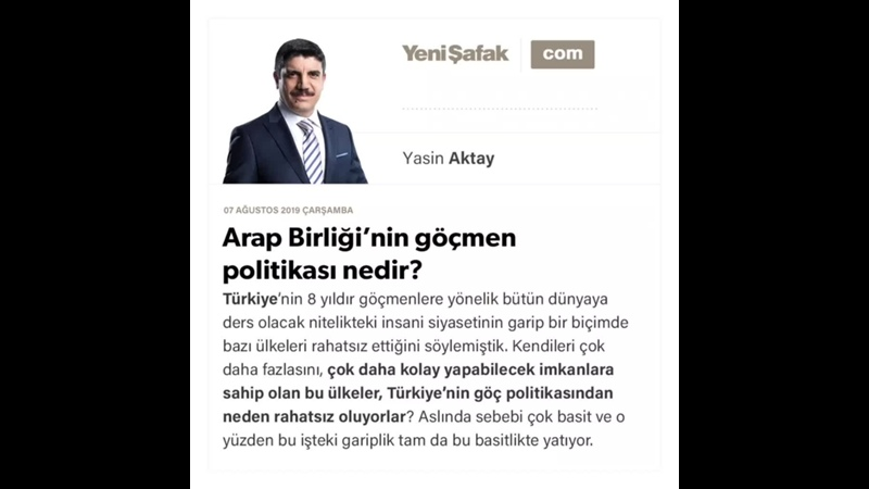 Yasin Aktay - Arap Birliği'nin göçmen politikası nedir - 07.08.2019.mp4