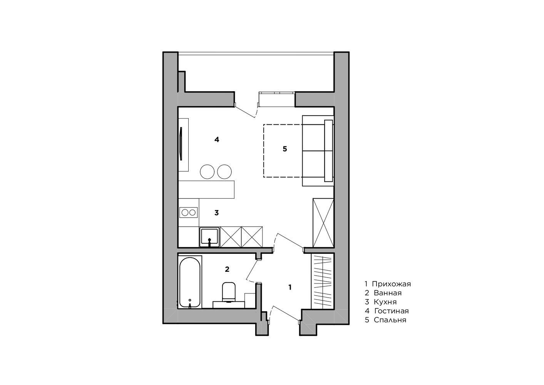 Яркий интерьер квартиры-студии 26 кв.