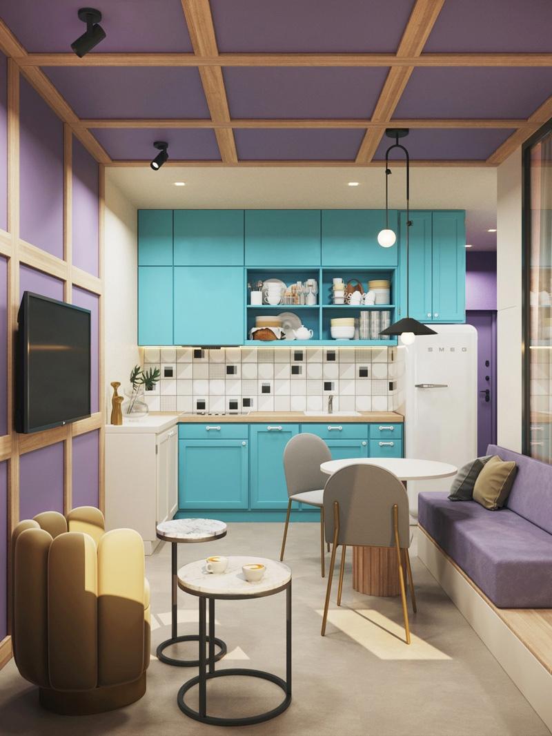 Яркий проект квартиры-студии 30 м.