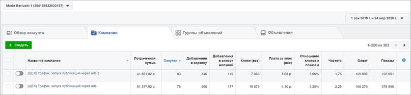 Всего на продвижение публикаций через Ads Manager потратили 123 128 ₽