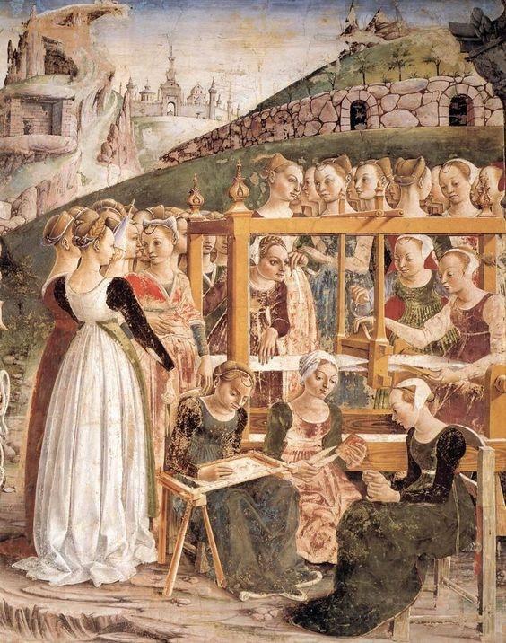 Francesco del Cossa. Аллегория марта: Триумф Минервы (деталь), 1476-84. Фреска, Палаццо Скифанойя, Город Феррара, Италия.